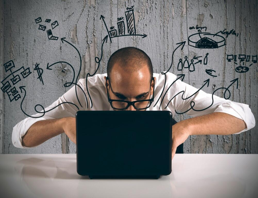 Businessman working with laptop on new projects