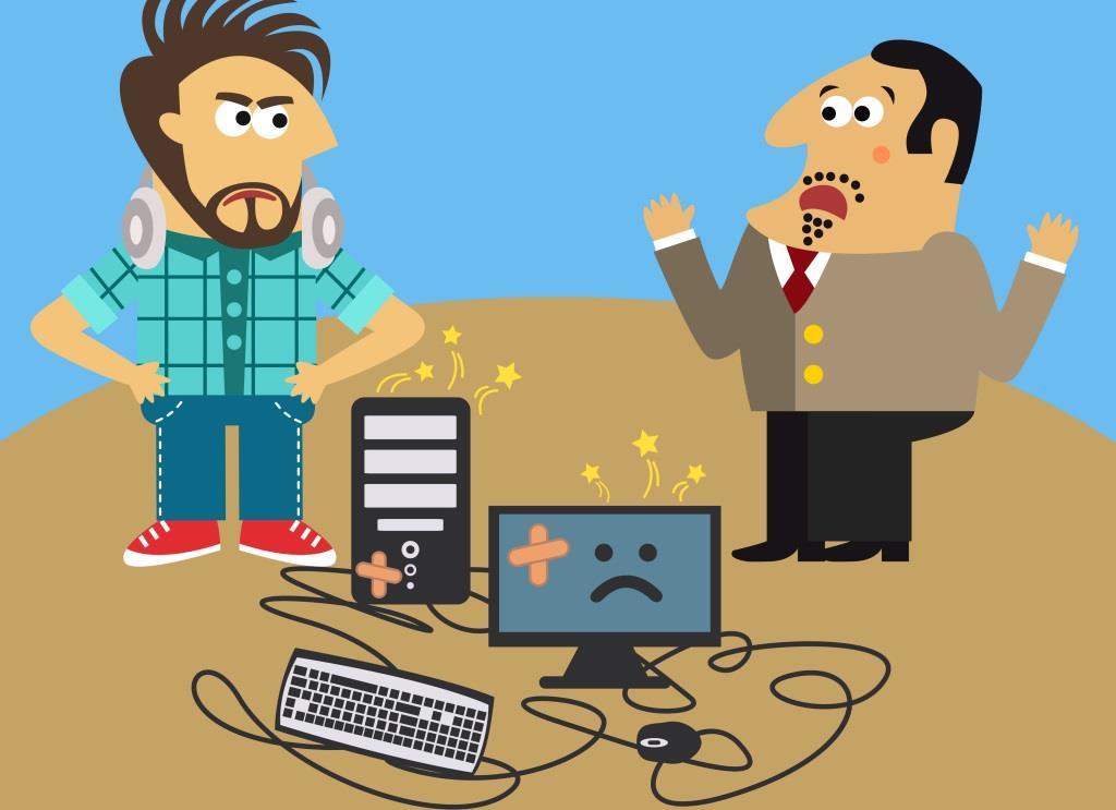 Boss broke his computer and displeased IT geek