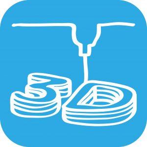 Handgezeichnetes 3D-Druck-Icon auf blauem Hintergrund