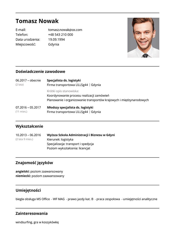 CV logistyka