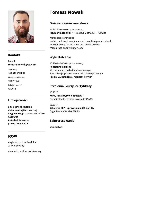 CV mechanik