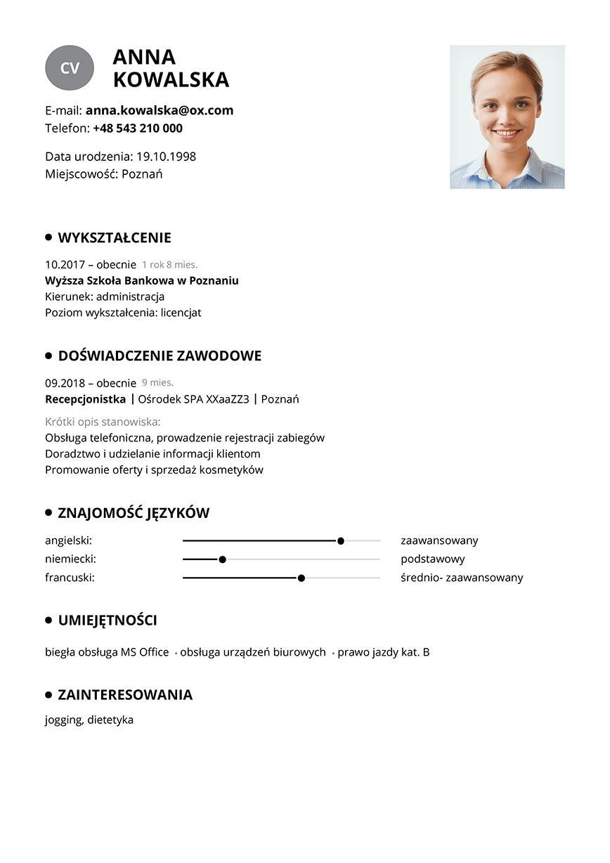 Wzór CV recepcjonistka