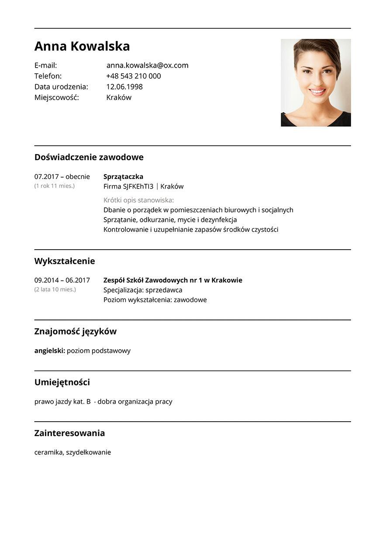 CV sprzataczka
