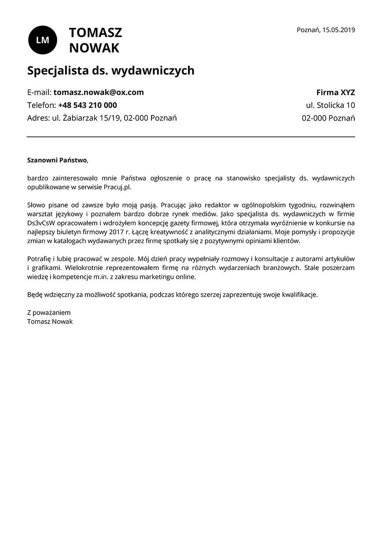 List motywacyjny dla stanowiska specjalista ds. wydawniczych