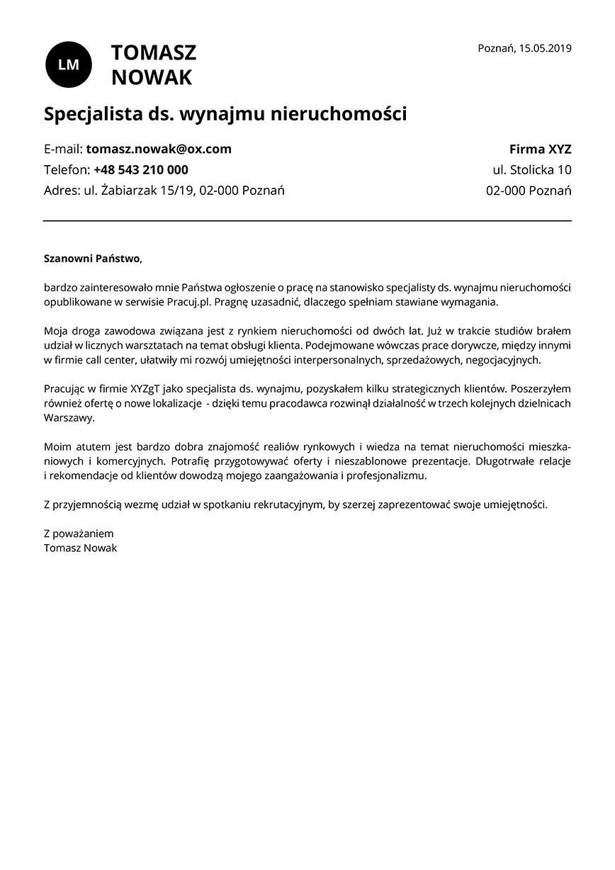 List motywacyjny dla stanowiska specjalista ds. wynajmu nieruchomości