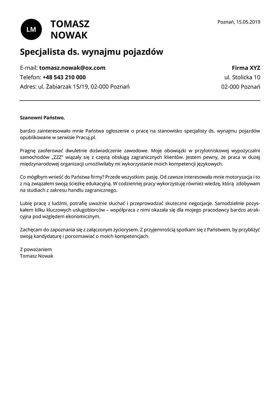 List motywacyjny dla stanowiska specjalista ds. wynajmu pojazdów
