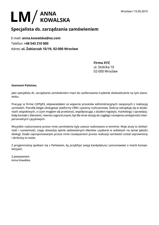 List motywacyjny dla stanowiska specjalista ds. zarządzania zamówieniem