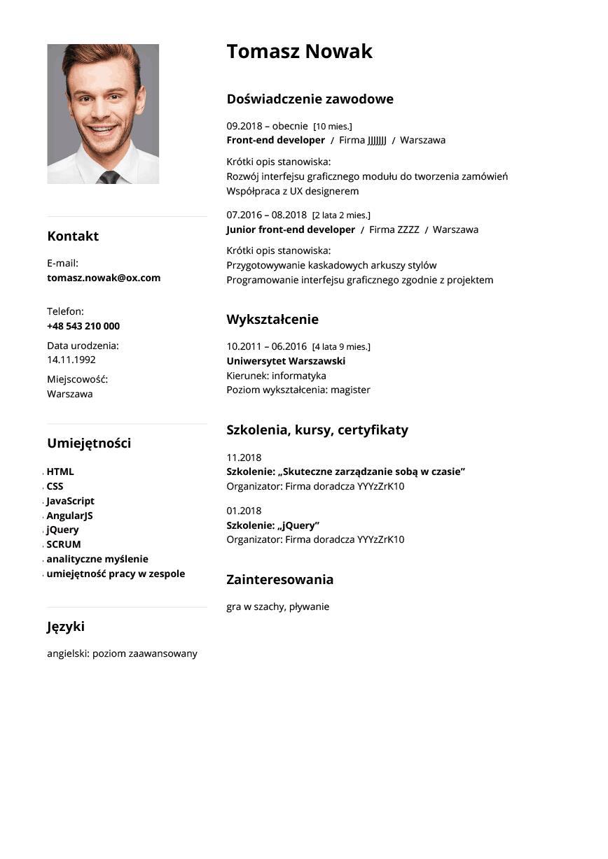 CV front end developer