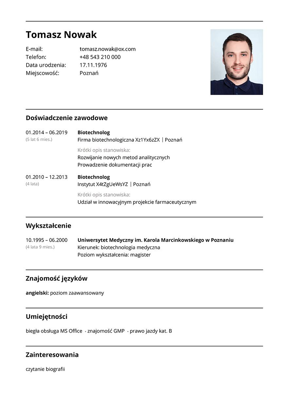 CV biotechnolog