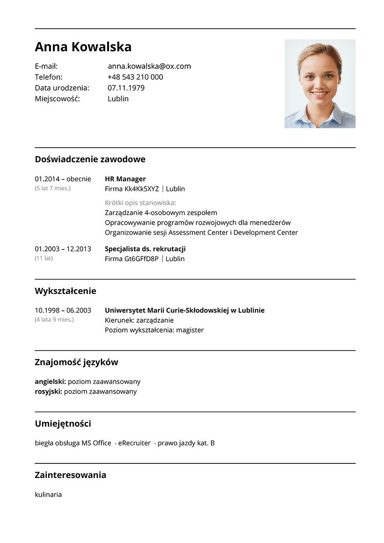 CV hr manager