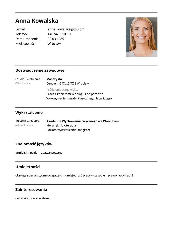 CV masażysta