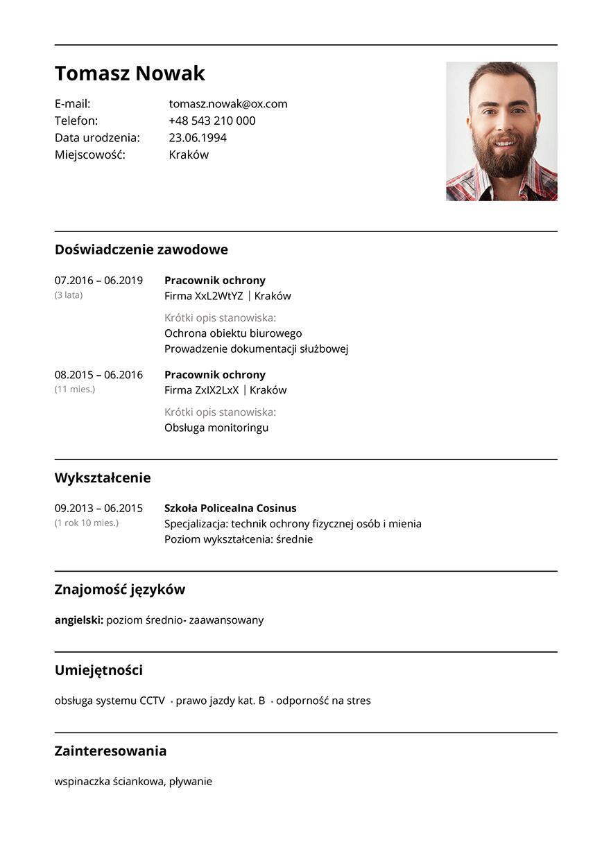 CV pracownik ochrony