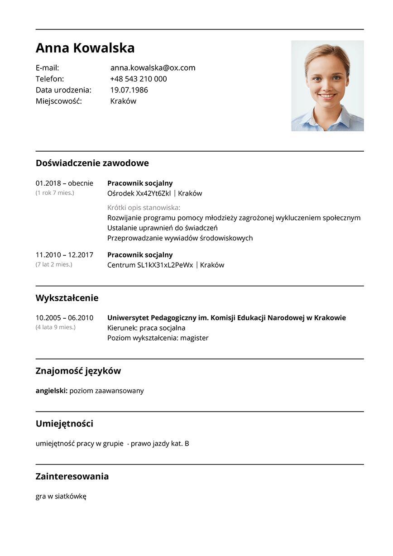 CV pracownik socjalny
