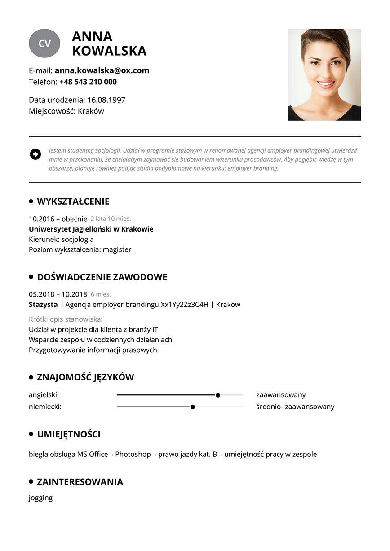 CV stażysty