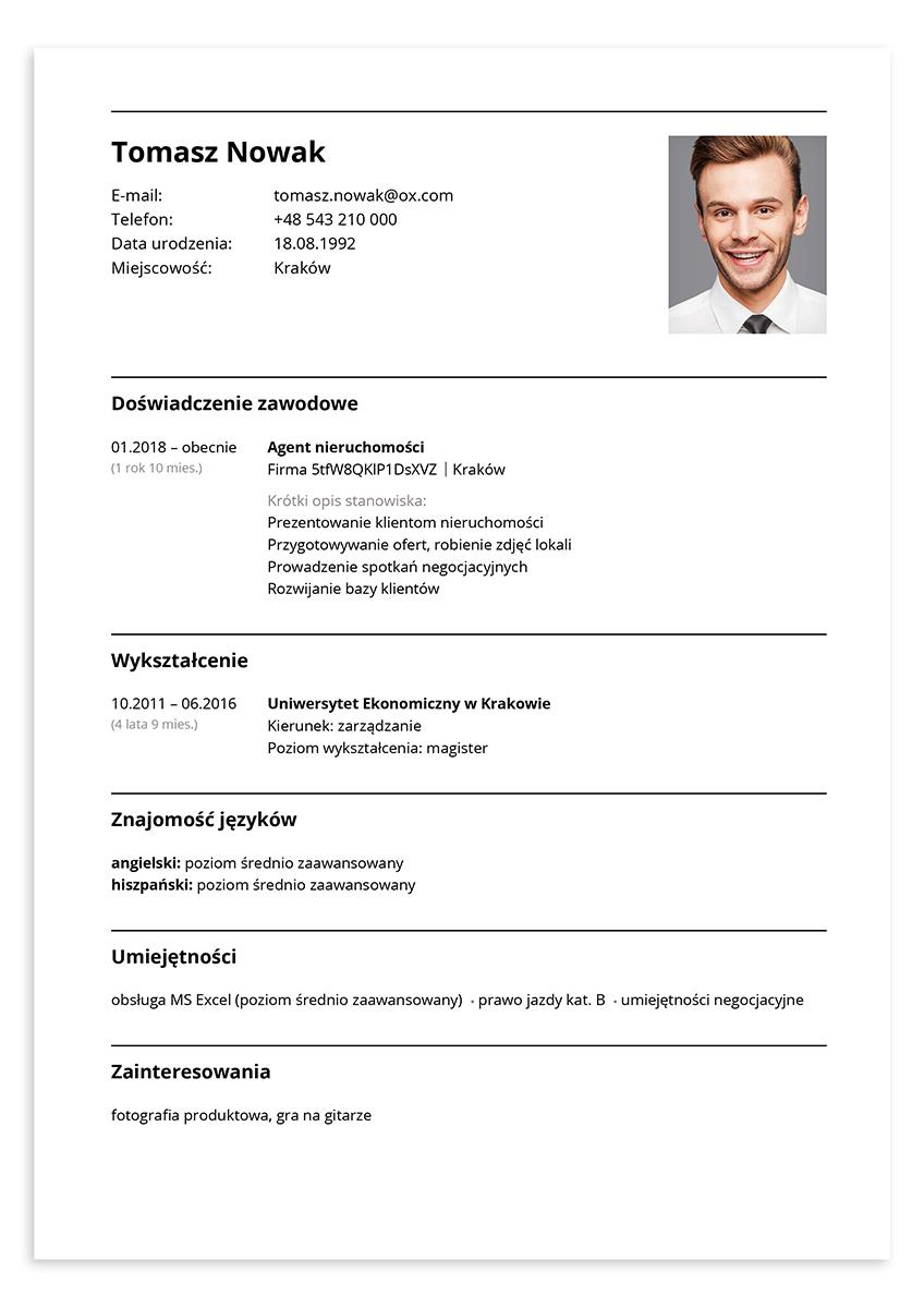 CV wzór – agent nieruchomości