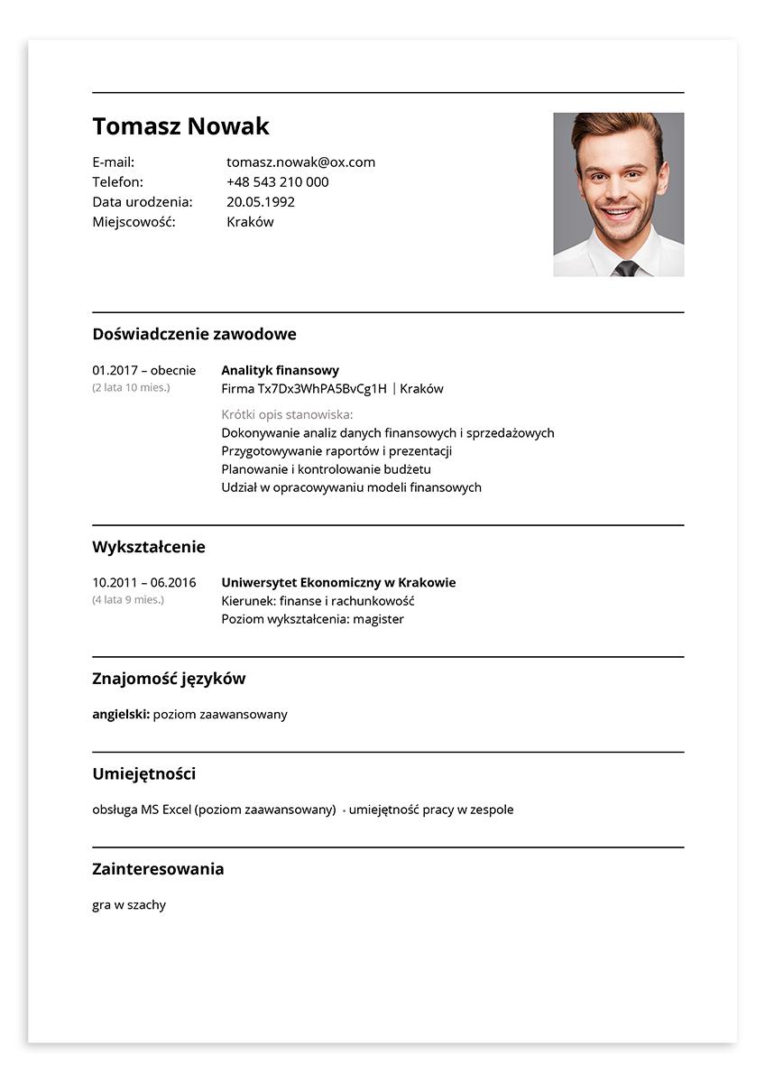 Przykładowe CV – analityk finansowy