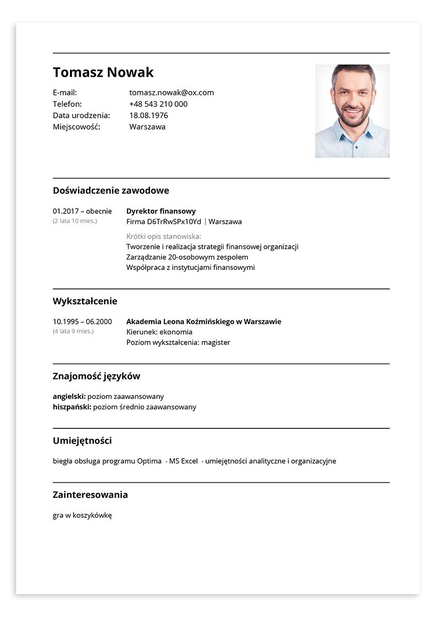Wzór CV – dyrektor finansowy