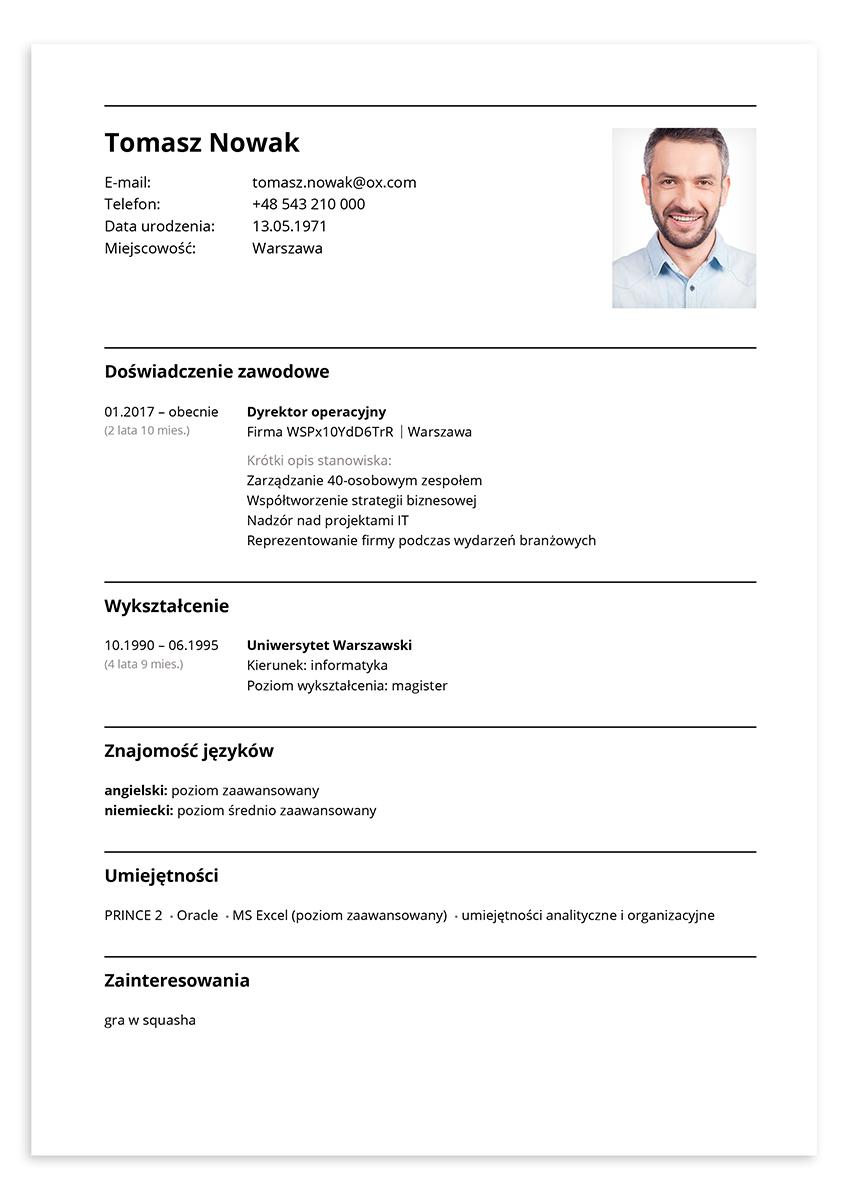 CV dyrektor operacyjny – wzór