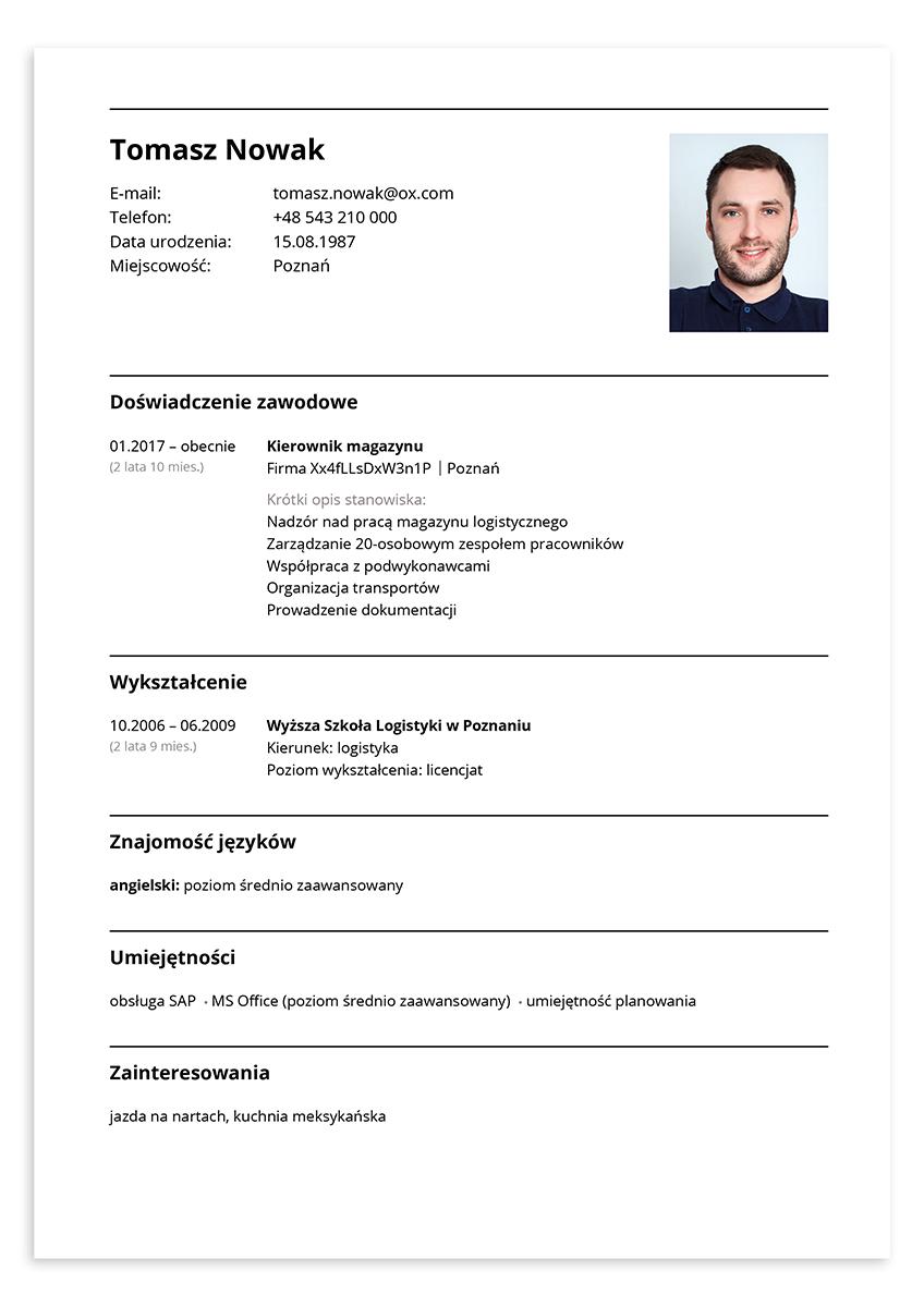 CV kierownik magazynu – wzór