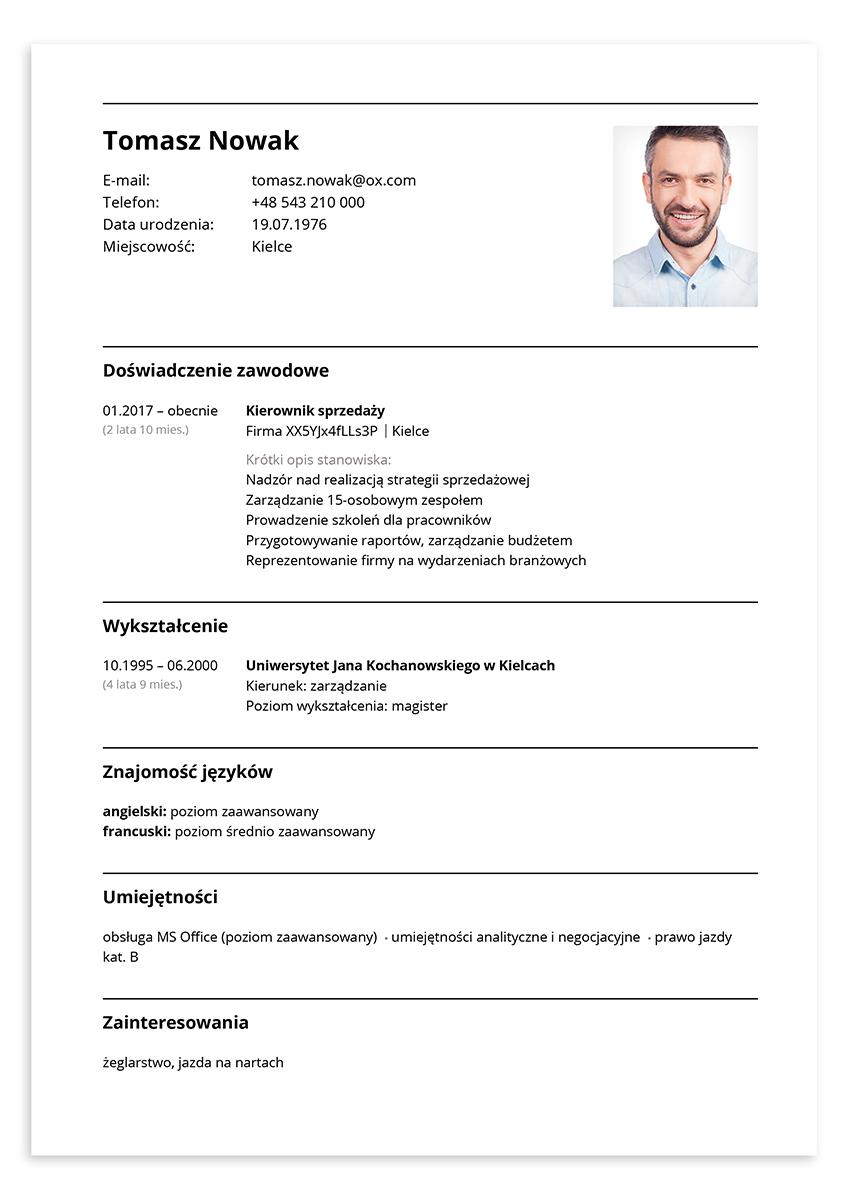 Wzór CV kierownik sprzedaży