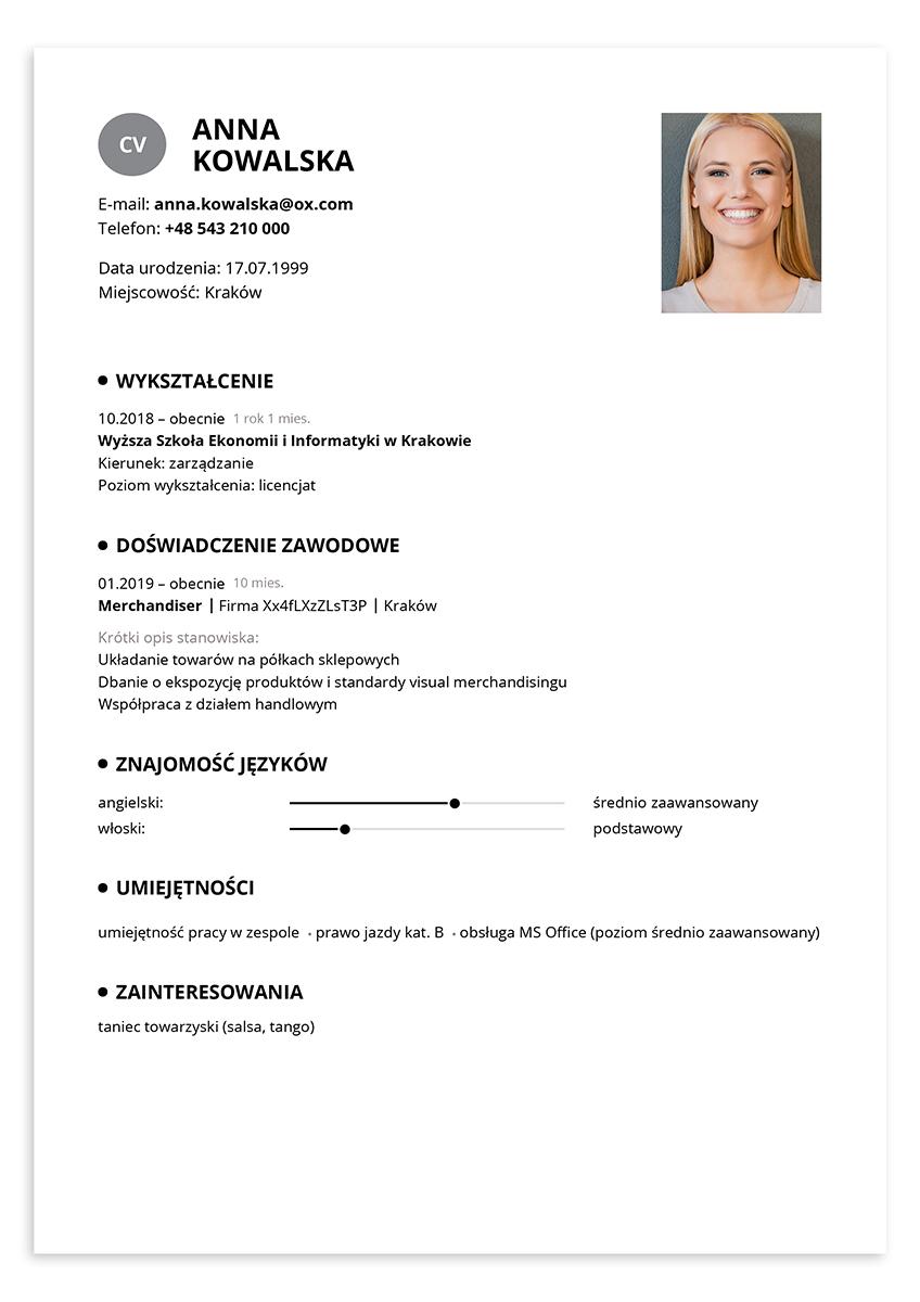 CV merchandiser