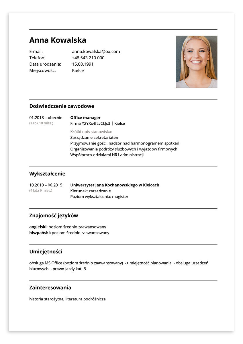 CV office manager