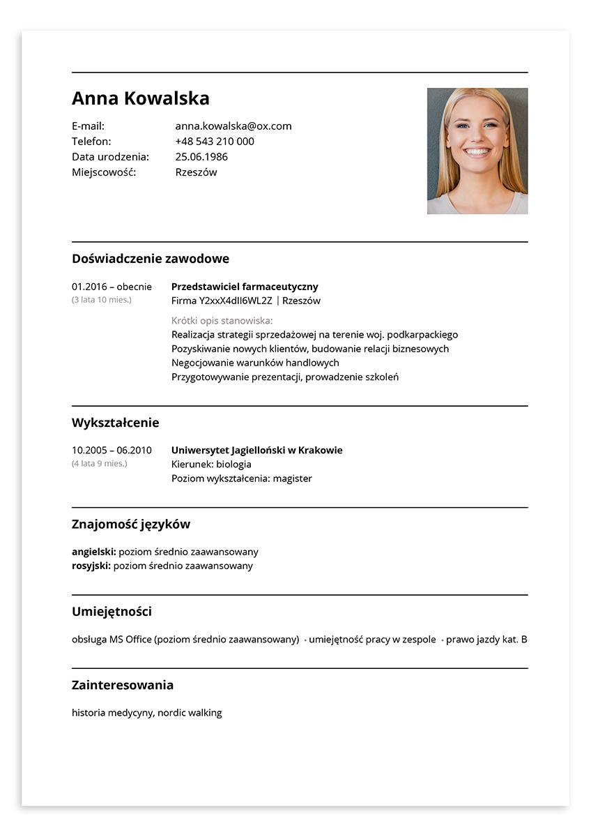CV przedstawiciel farmaceutyczny