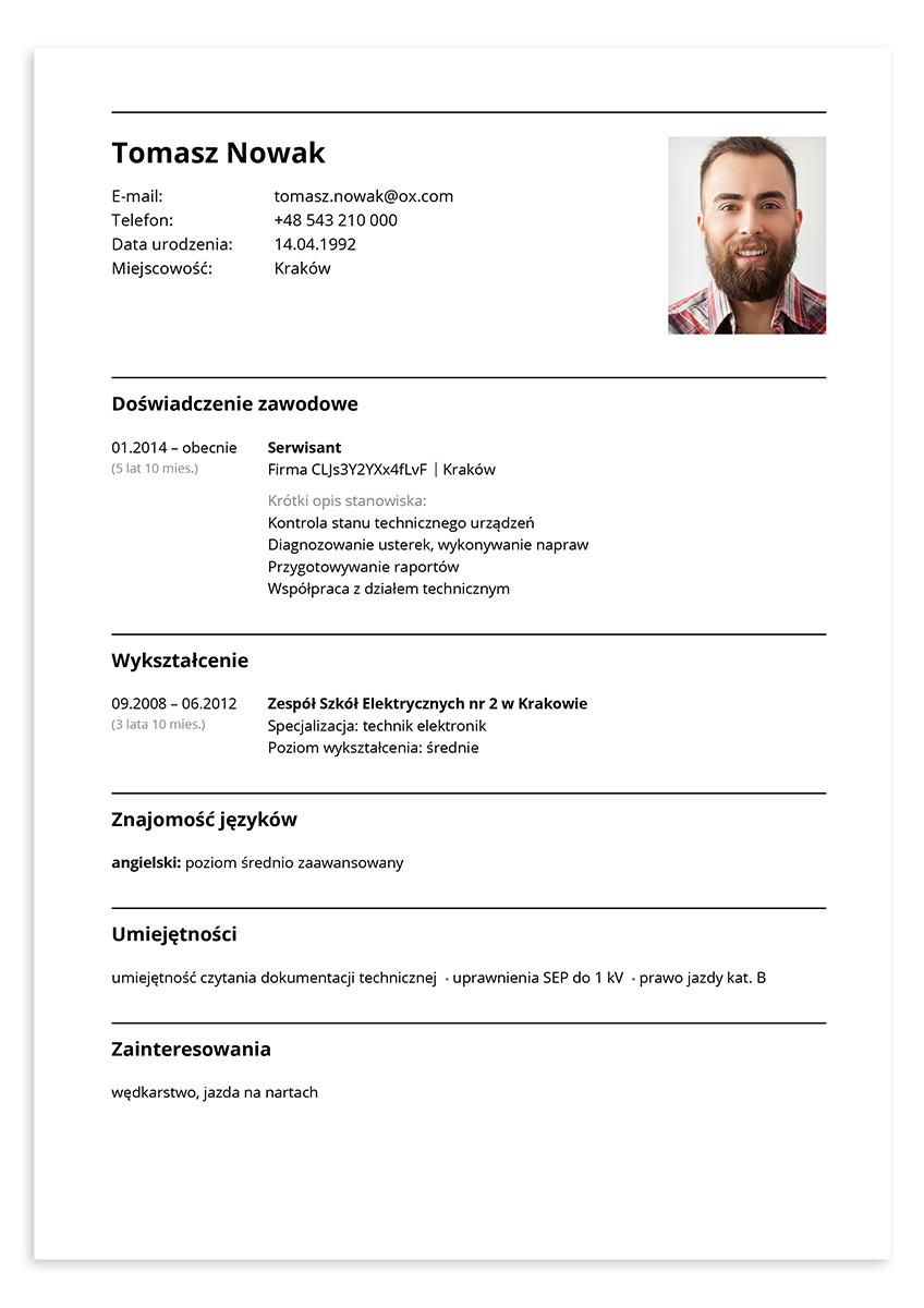 CV serwisant