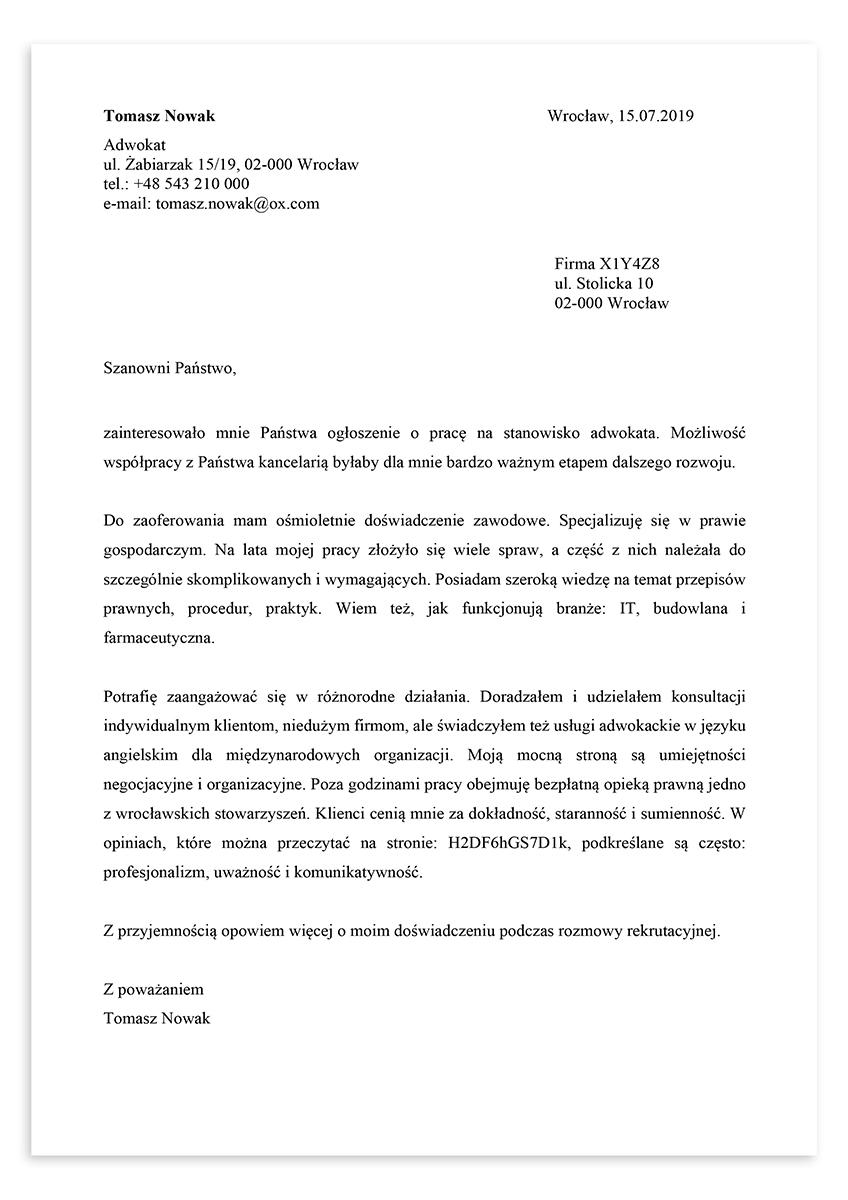 List motywacyjny dla stanowiska adwokat