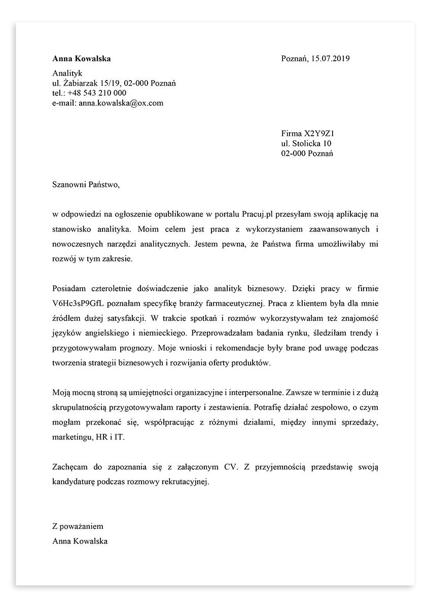 List motywacyjny dla stanowiska analityk