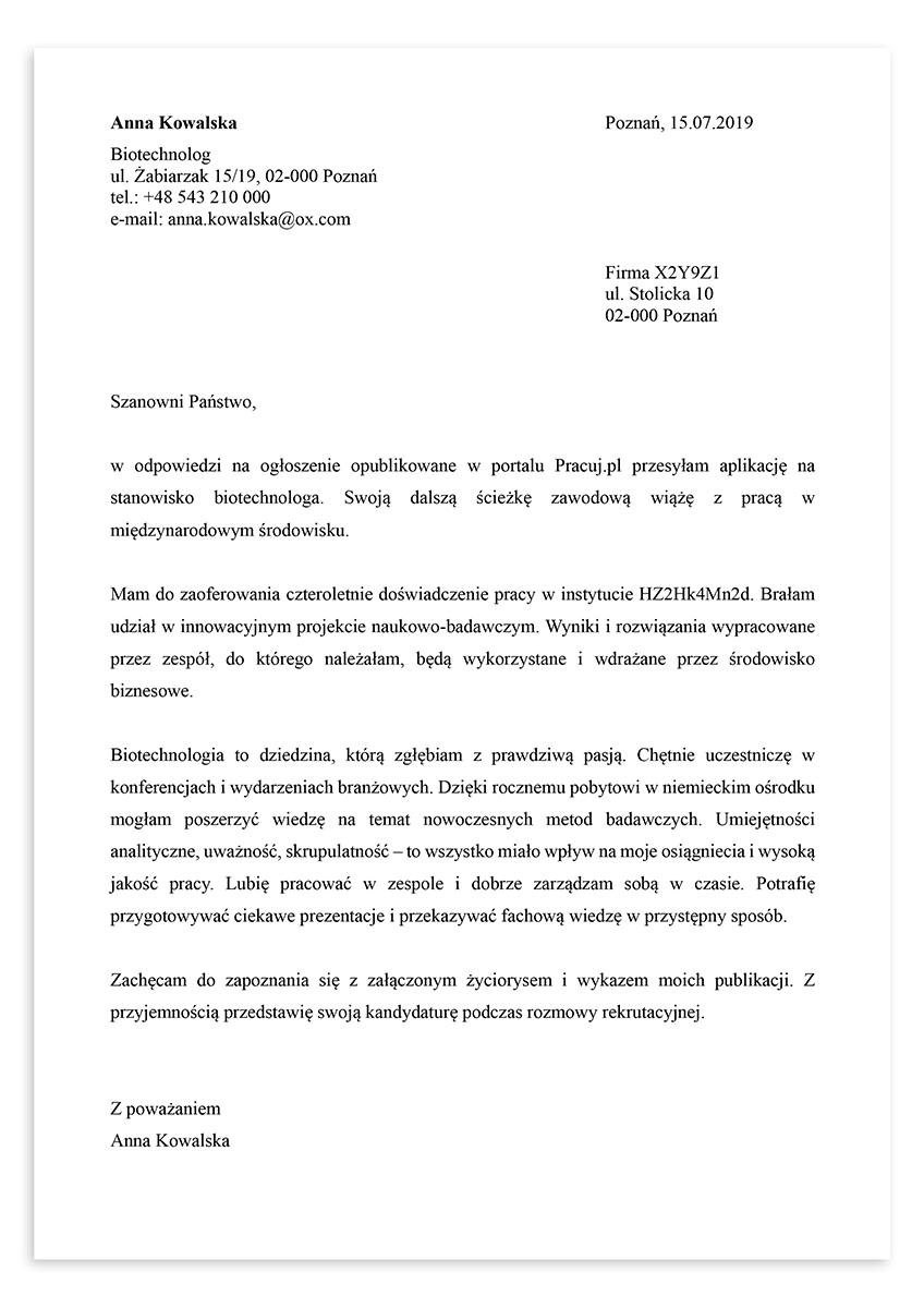 List motywacyjny dla stanowiska biotechnolog