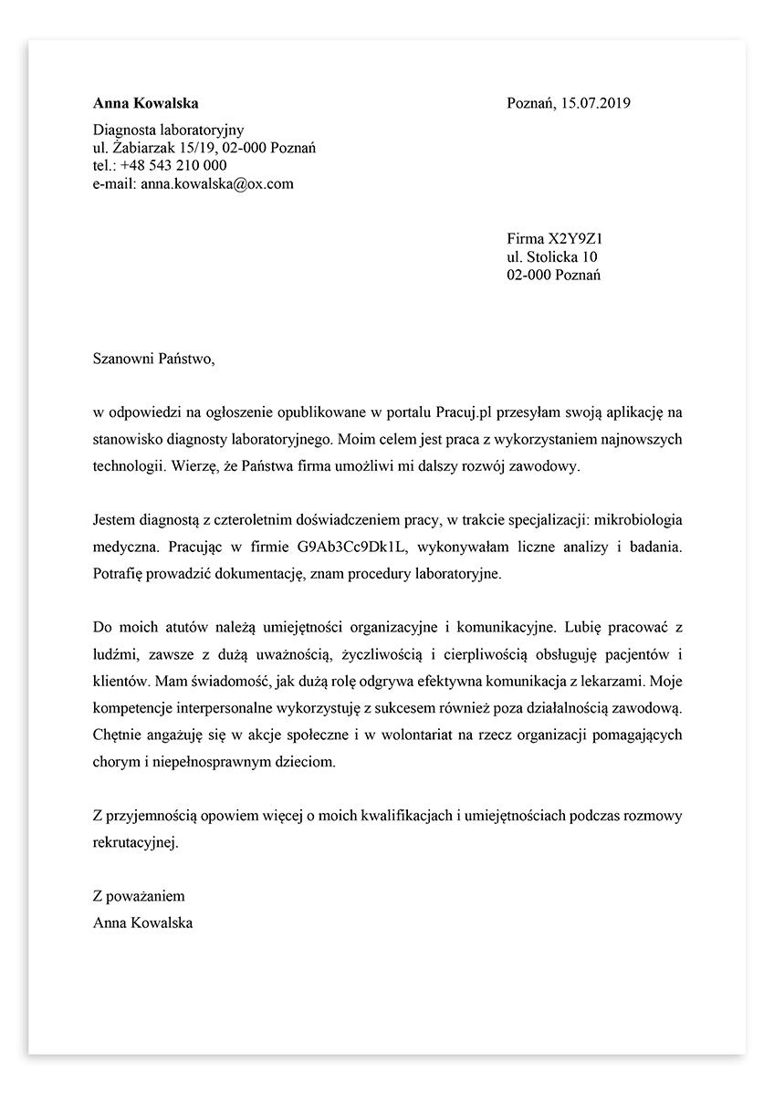 List motywacyjny dla stanowiska diagnosta laboratoryjny