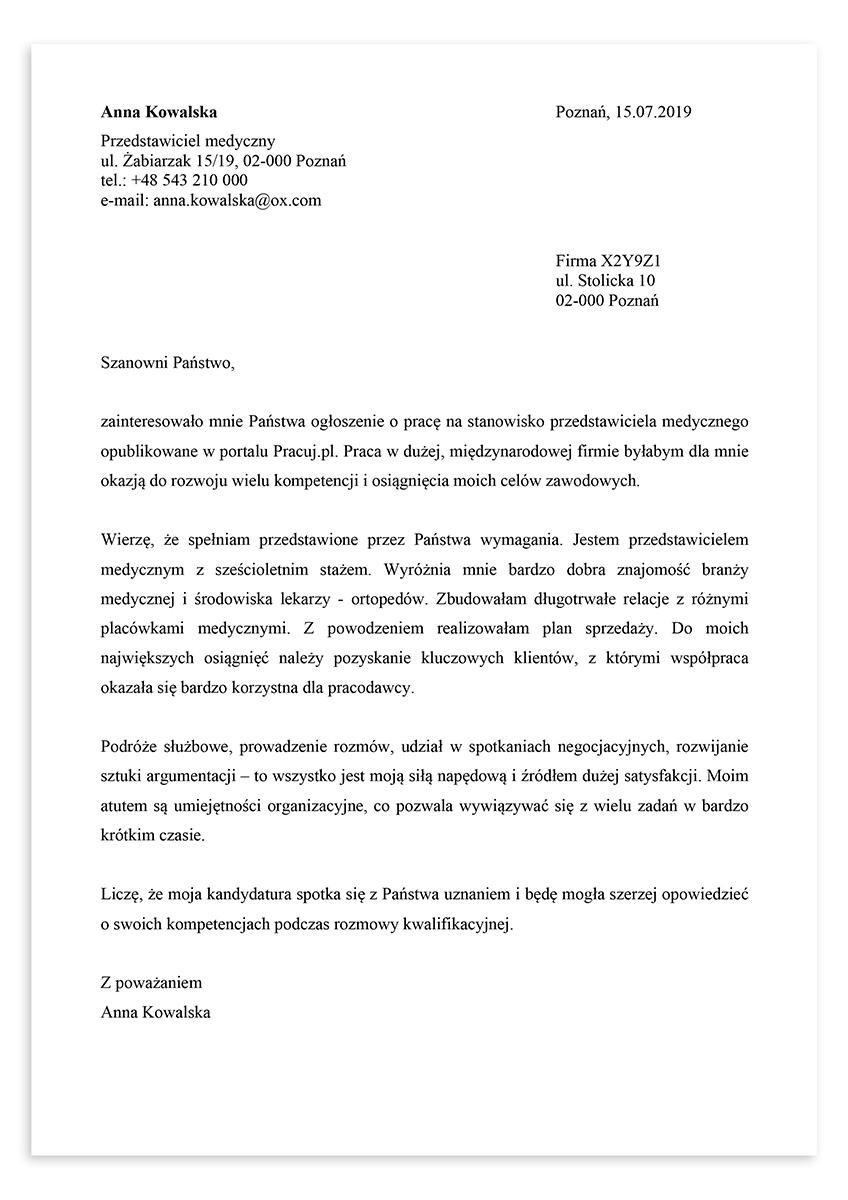 List motywacyjny dla stanowiska przedstawiciel medyczny