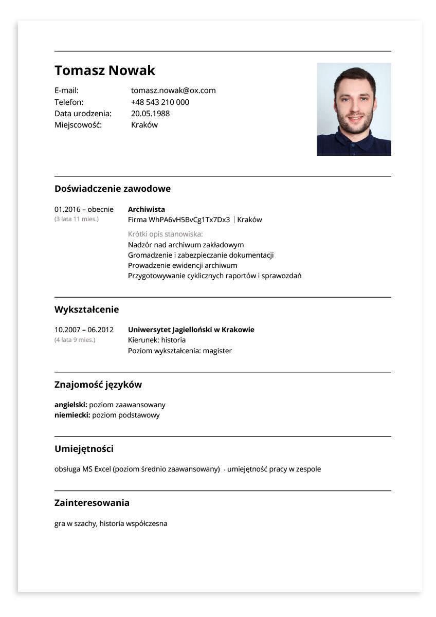 Przykładowe CV – archiwista