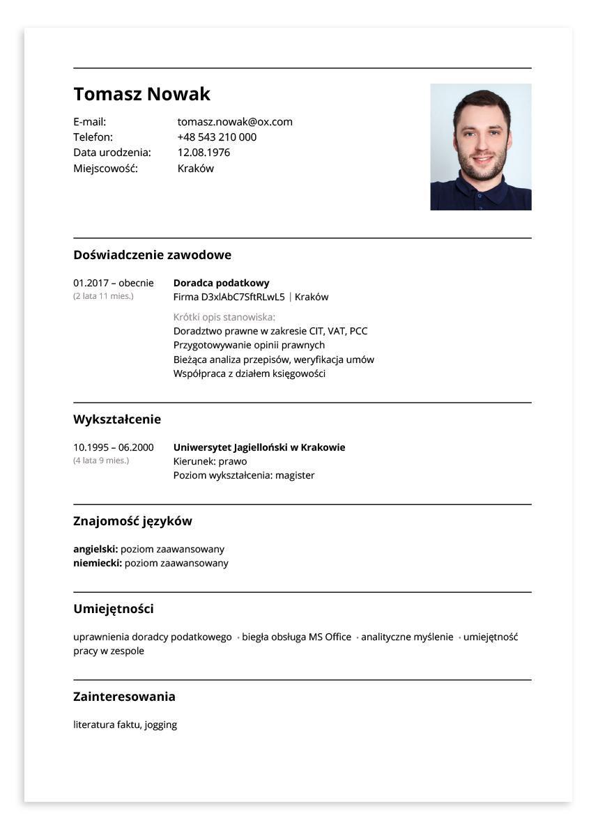 Przykładowe CV – doradca podatkowy