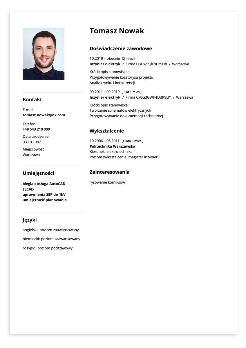 Wzór CV inżynier elektryk