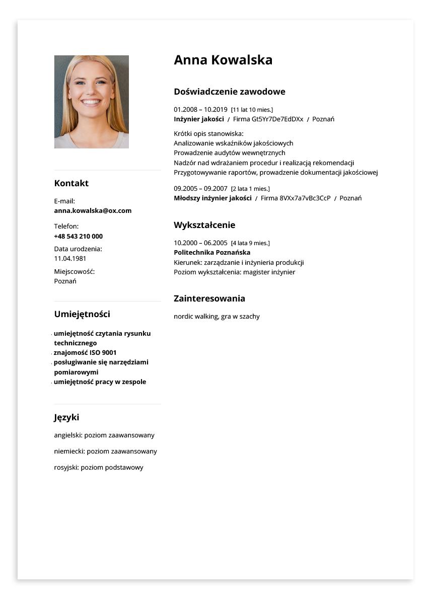 Przykładowe CV – inżynier jakości