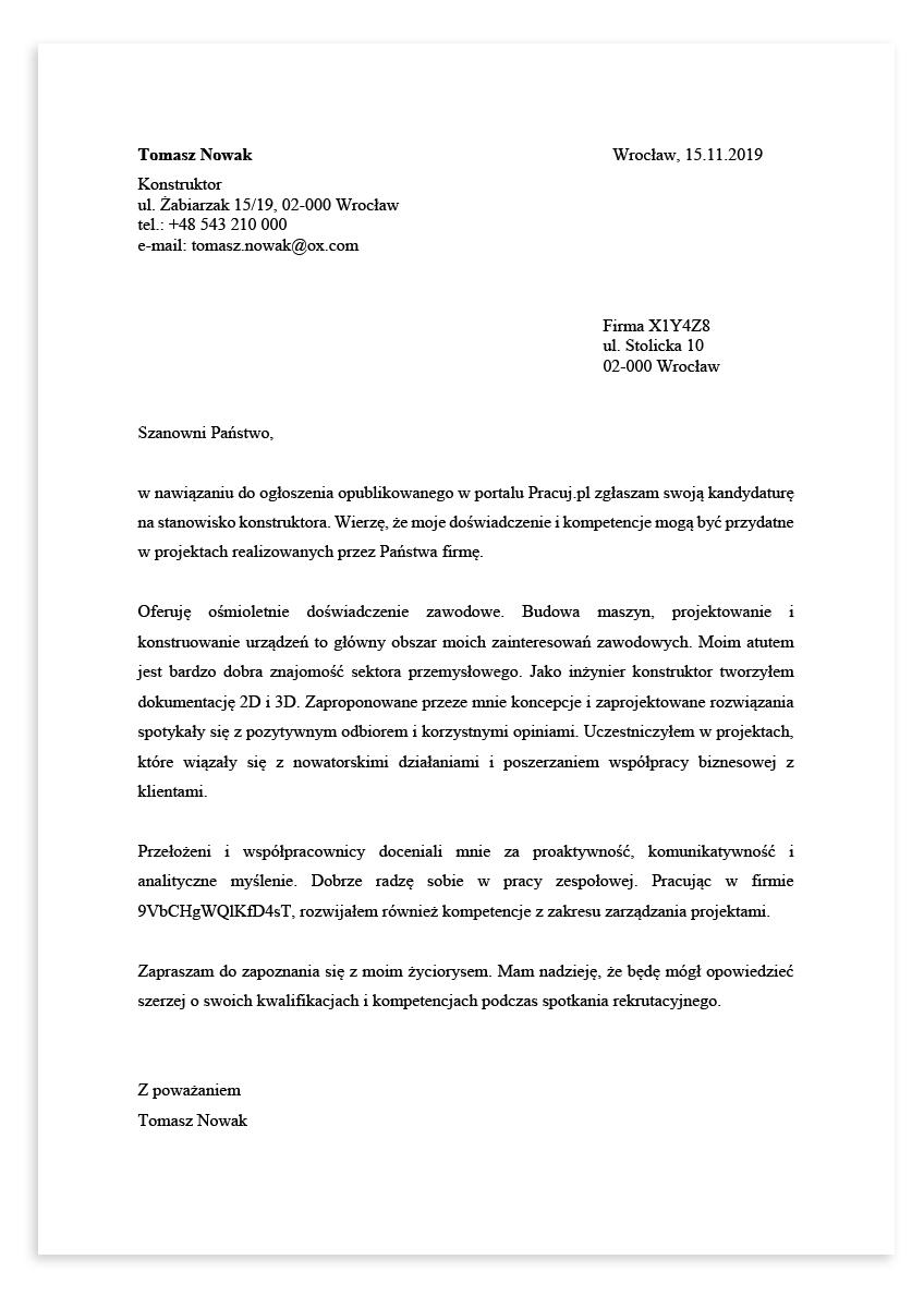 List motywacyjny dla stanowiska konstruktor