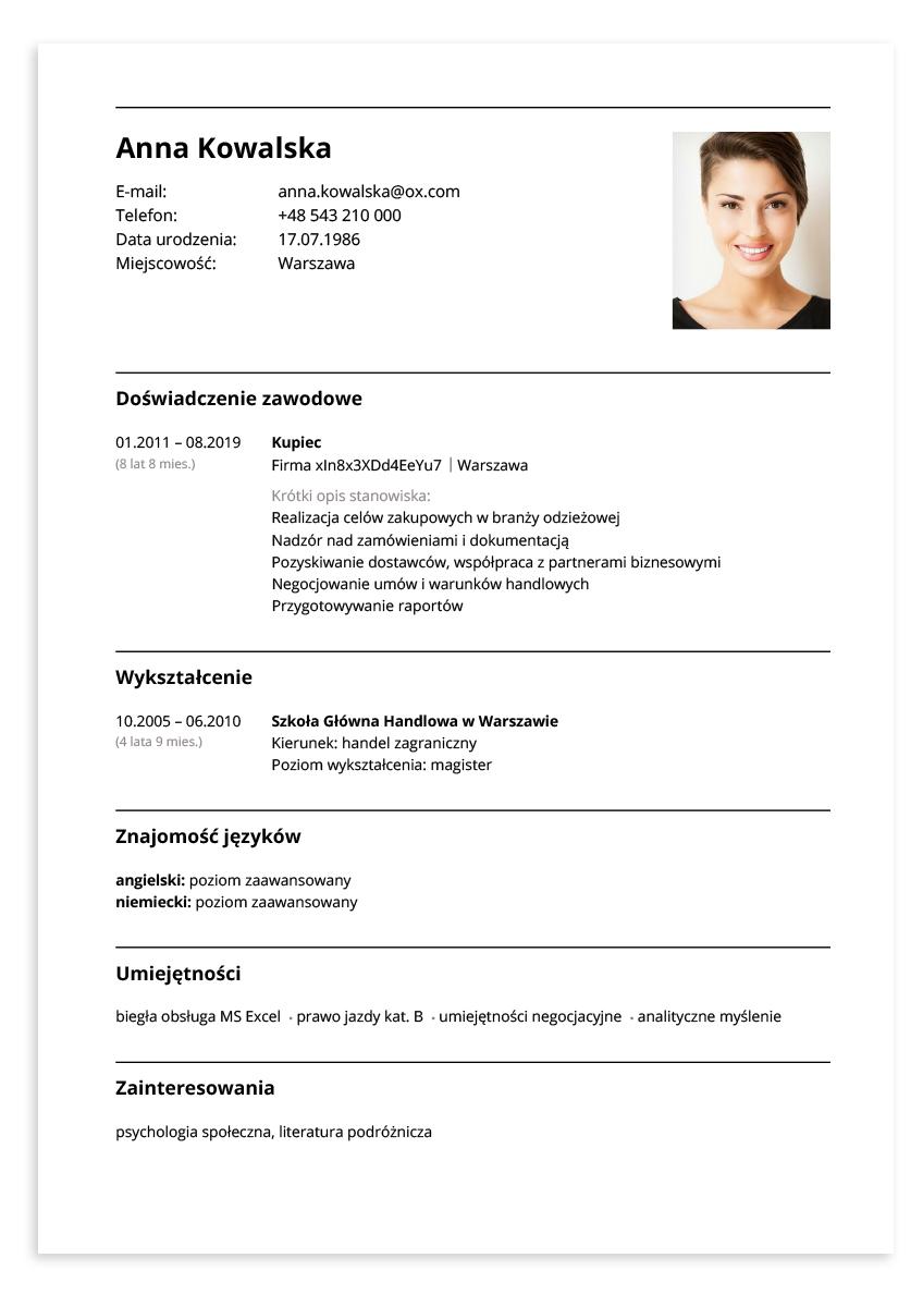 Przykładowe CV – kupiec