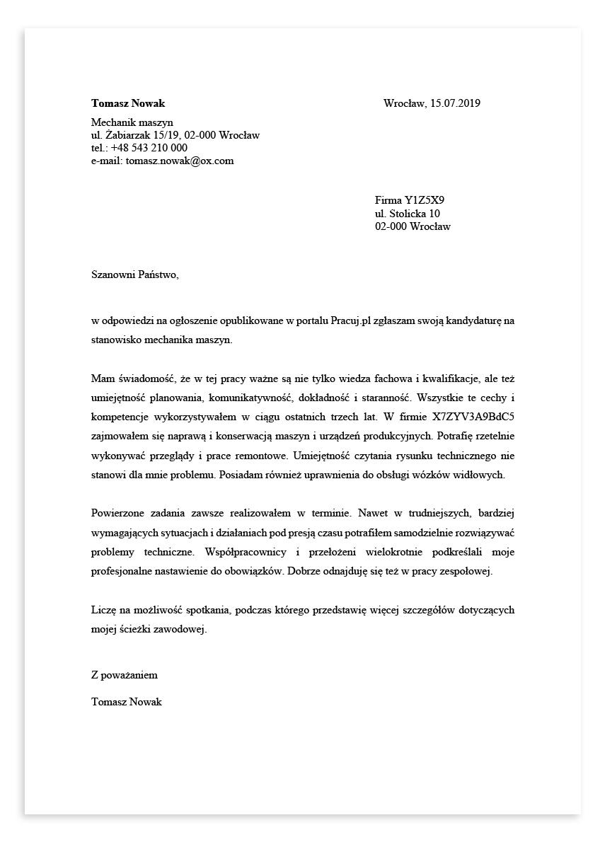 List motywacyjny dla stanowiska mechanik maszyn