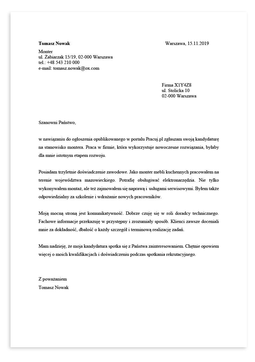 List motywacyjny dla stanowiska monter