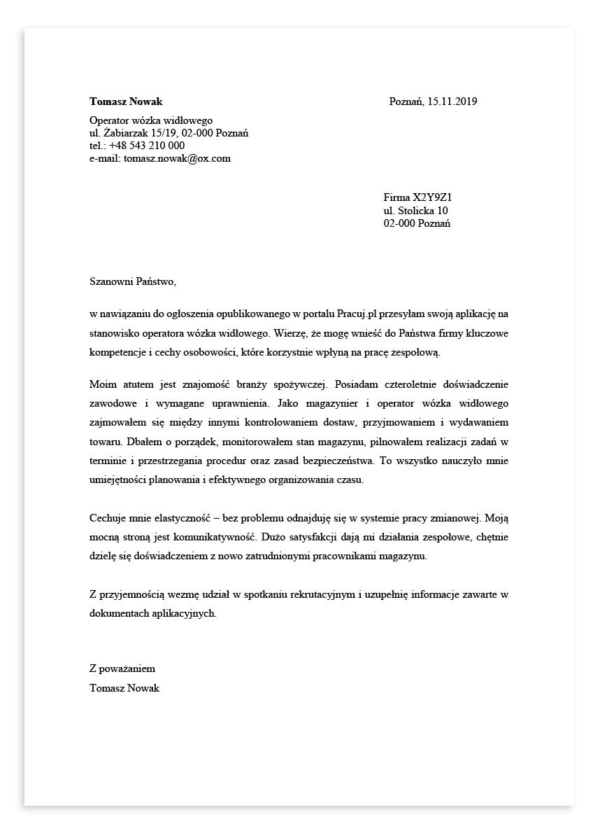 List motywacyjny dla stanowiska operator wózka widłowego