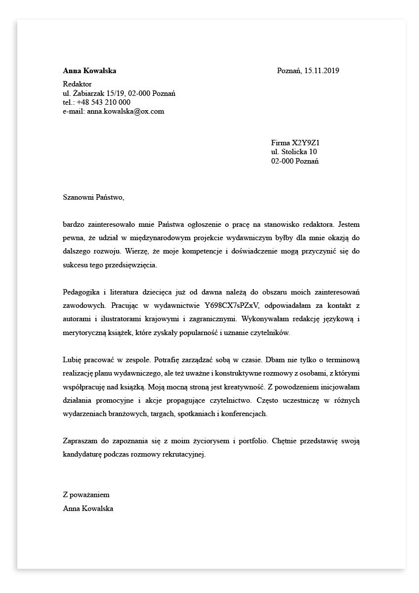 List motywacyjny dla stanowiska redaktor