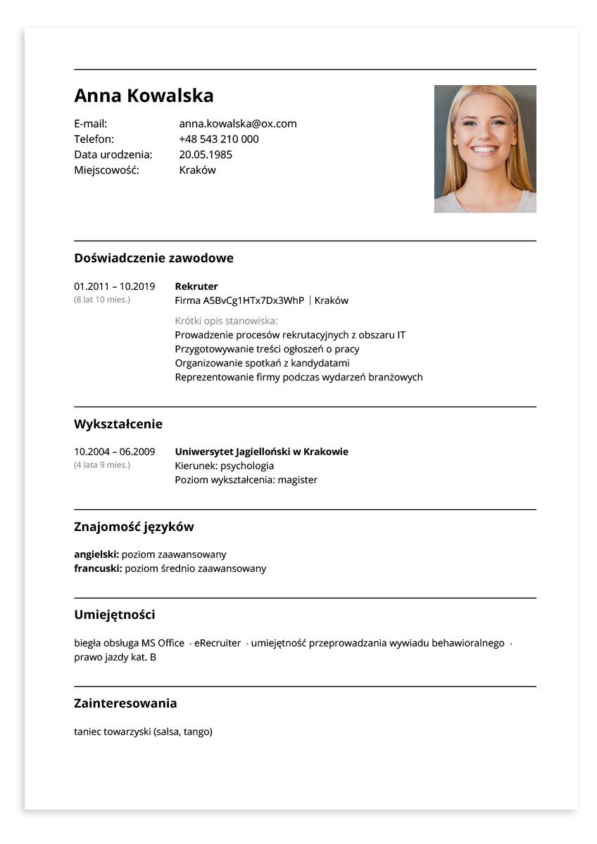 Wzór CV rekrutera