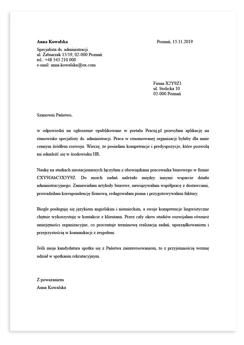 List motywacyjny dla stanowiska specjalista ds. administracji