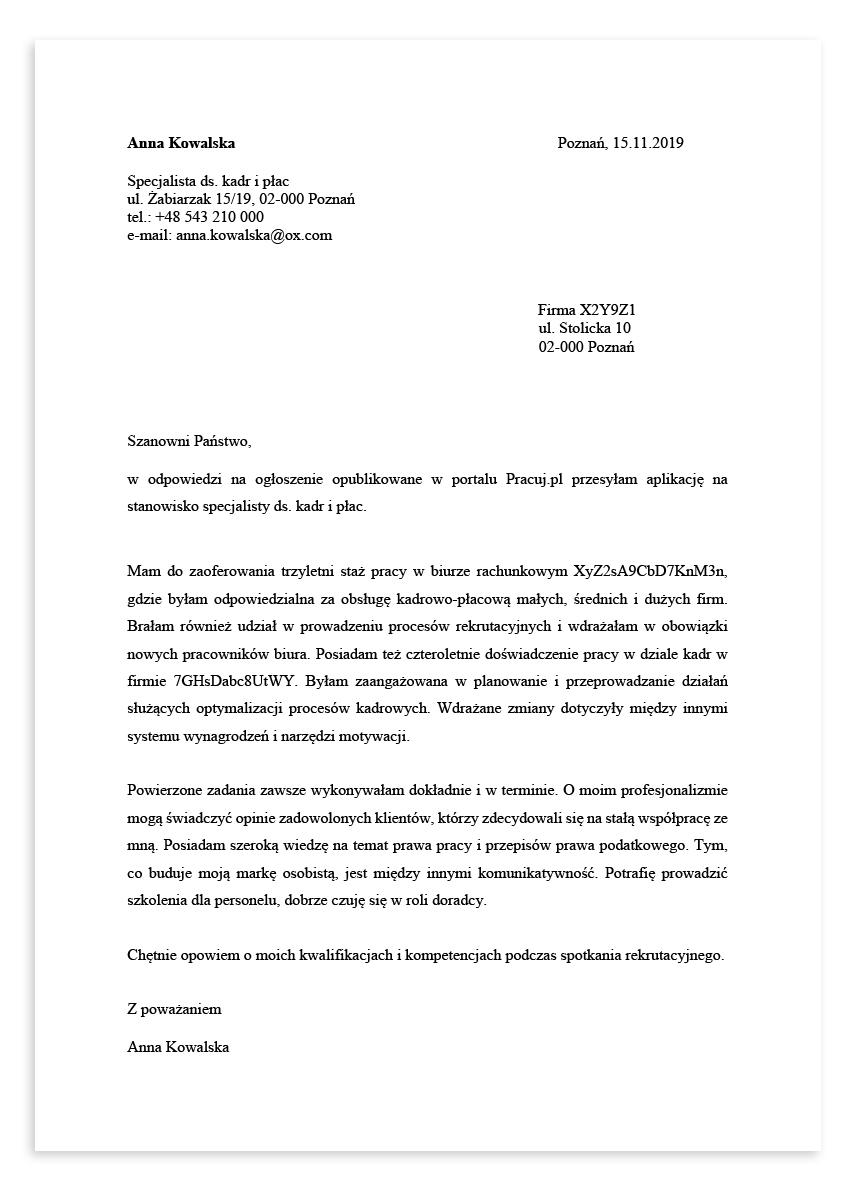 List motywacyjny dla stanowiska specjalista ds. kadr i płac