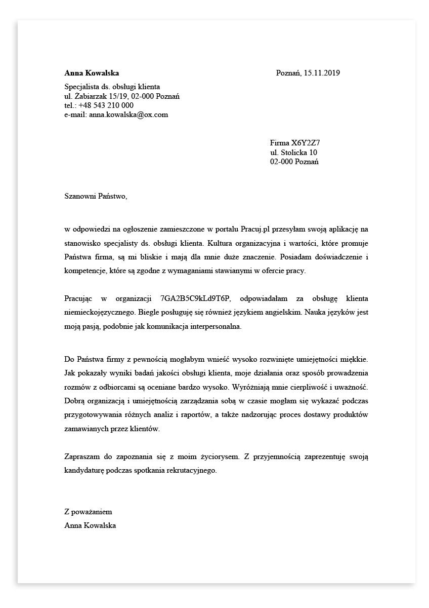 List motywacyjny dla stanowiska specjalista ds. obsługi klienta