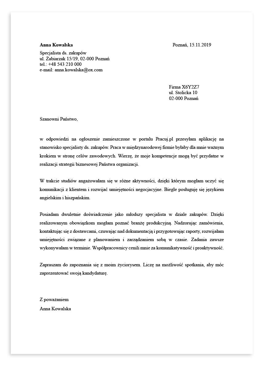 List motywacyjny dla stanowiska specjalista ds. zakupów