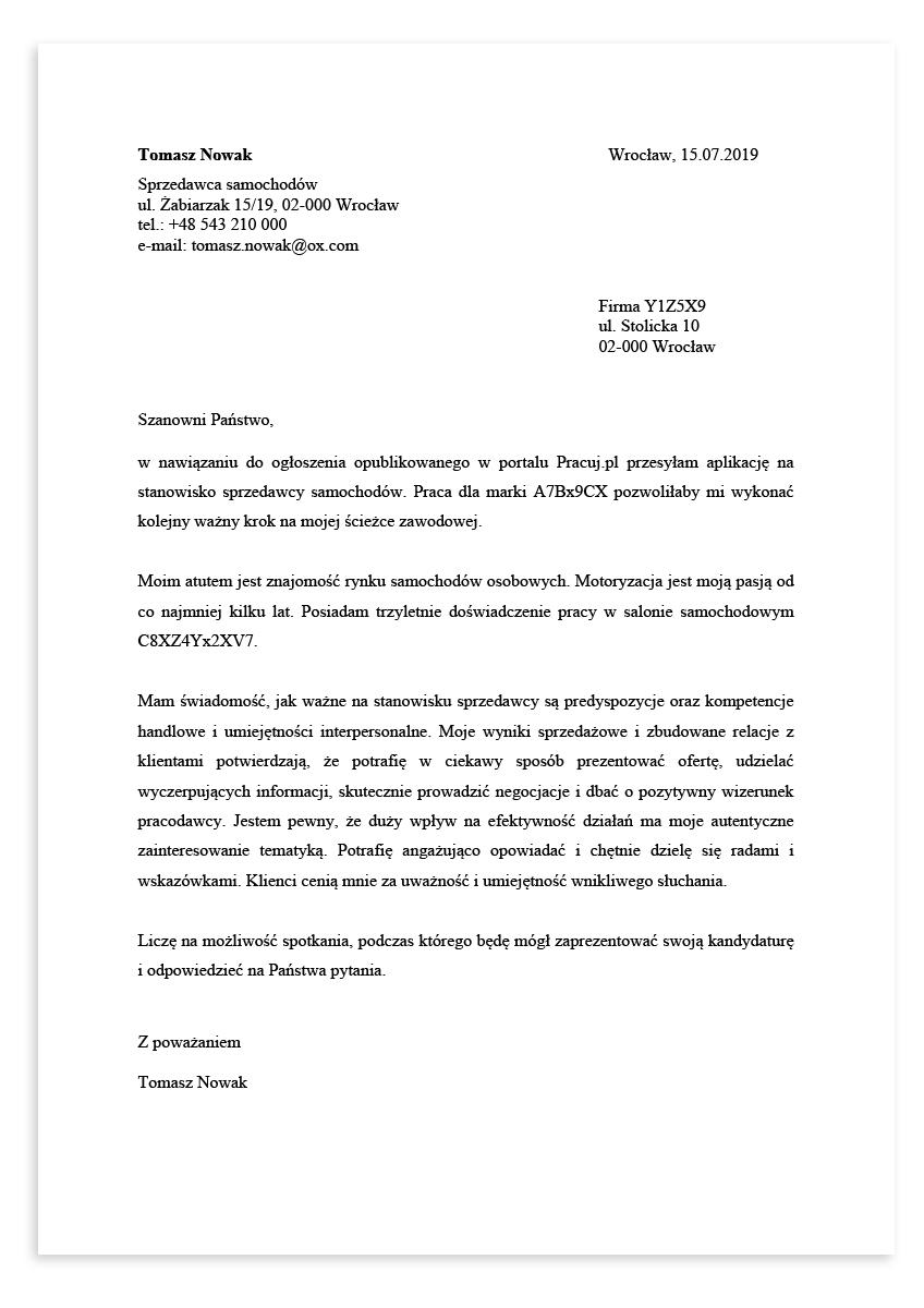 List motywacyjny dla stanowiska sprzedawca samochodów