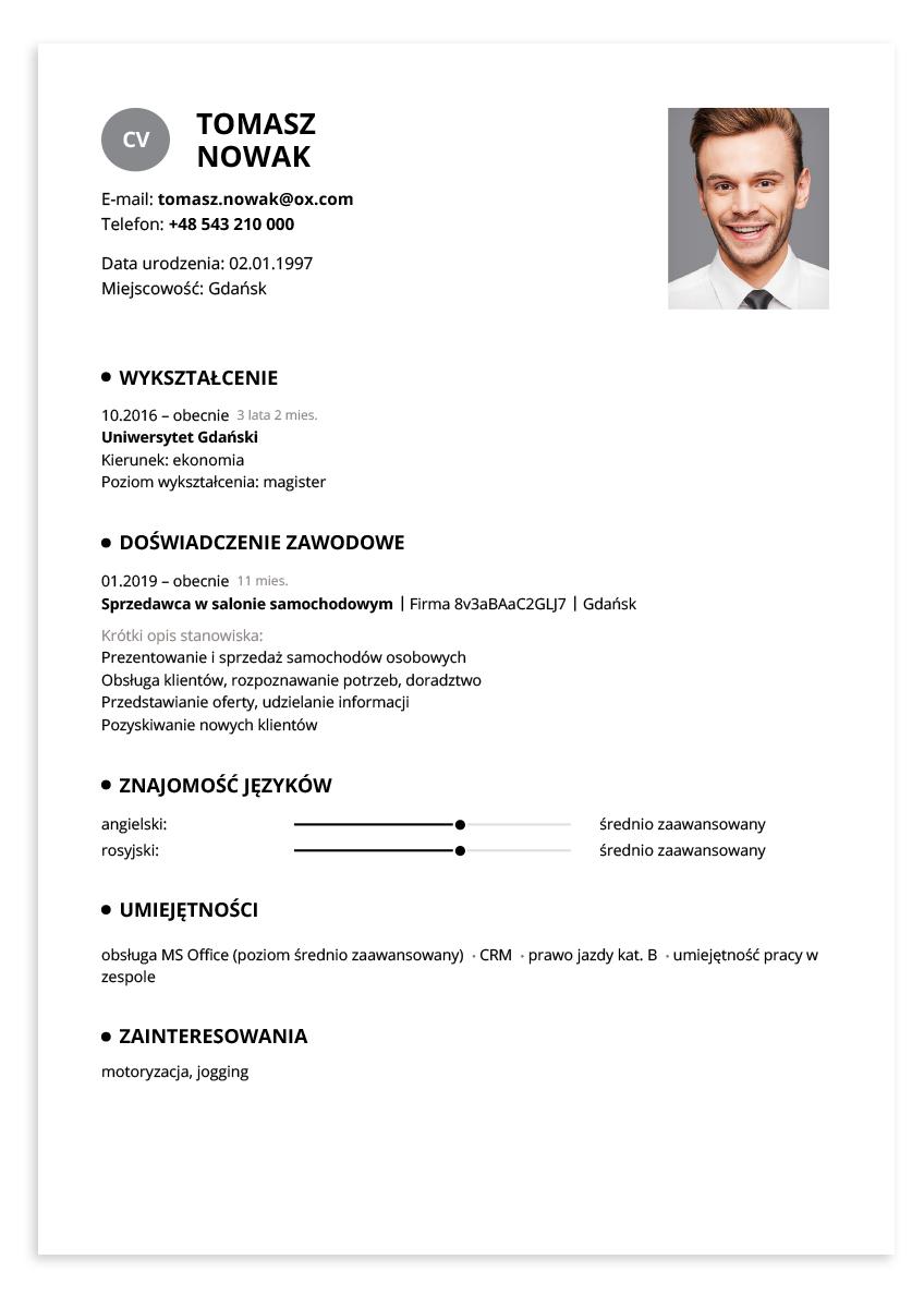Przykładowe CV – sprzedawca w salonie samochodowym